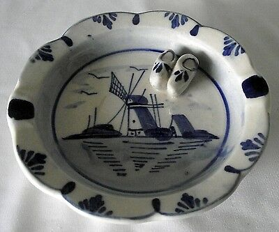 Dutch Delft Blue Ashtray Dish Shoes Holland Windmill Vintage White Plate Painted