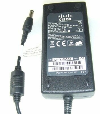 Genuine Cisco V Box Power Supply PE-1170-1SA1 5V 3A AC Adapter Cable