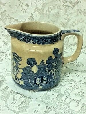 Vintage, Buffalo Pottery, Blue Willow, 5in H x 6.5in W Milk Pitcher or Jug