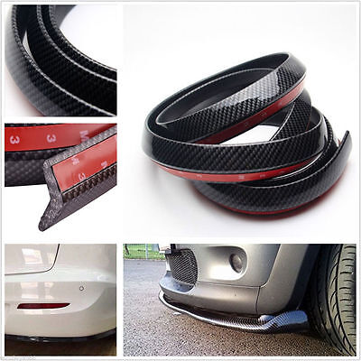 2.5M Black Carbon Fiber Car SUV Bumper Lip Splitter Spoiler Skirt Chin Protector