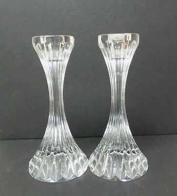 "Beautiful Pair Baccarat Crystal Slender Panel Cut 6"" Candlesticks, Signed"
