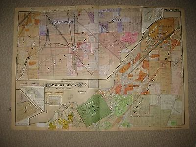 Rossford Ohio Map.Antique 1924 Perrysburg Rossford Fort Meigs Lake Township Wood