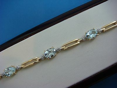 14K Yellow Gold Genuine Aquamarine And Diamonds Ladies Bracelet, 9.1 Grams