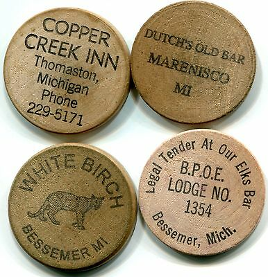 Gogebic County, MI, Lot of 4 Different Old Wooden Nickel Good For Tokens