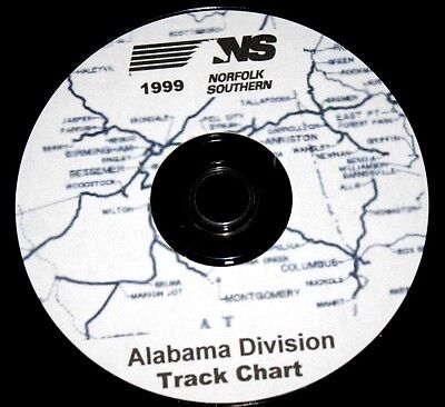Norfolk Southern 1999 Alabama Division Track Chart PDF Pages on DVD