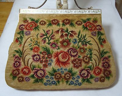 Vintage Hand Made Micro Petit Point Needlepoint Evening Purse Colorful Roses