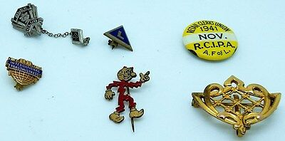 Mixed Lot of 6 Vintage Pins Buttons Brooches Organizations Advertising Jewelry