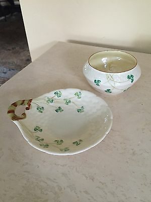 Vintage Belleek Porcelain Shamrock Open Sugar Bowl - Plate Ireland - Green Mark