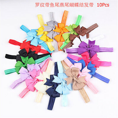 10PCS Set Headbands Girl Baby Toddler Bow Flower Hair Band Accessories Headwear