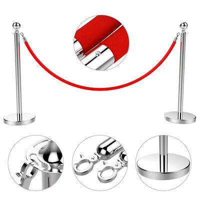 2 PCS Velvet Rope Stanchion Silver Color Post Crowd Control Queue Pole Barrier