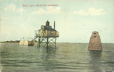 1910 BUG LIGHT LIGHTHOUSE BOSTON MA HARBOR Postcard Fenway Station