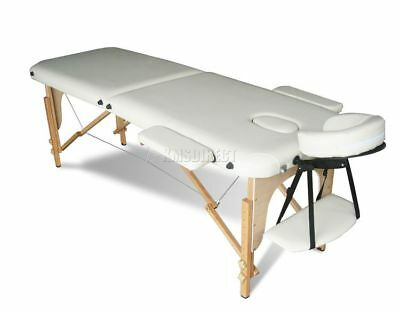 Light Weight Portable Massage Table Beauty Bed 2 Section Wood + Cover Bag Beige