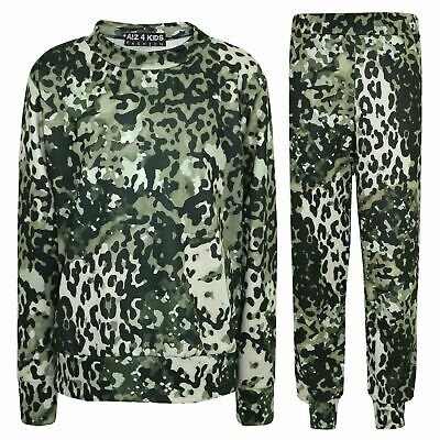 Kids Tracksuit Girls Leopard Print Lounge Suit Bottom Joggers Leggings 2-13 Year