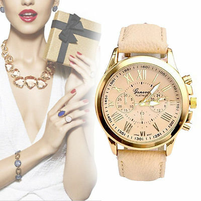 Fashion Women Ladies Stainless Steel Leather Bracelet Analog Quartz Wrist Watch