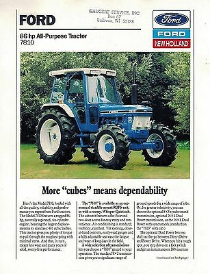 Ford 7810 All Purpose  Tractor Sales Brochure 1989
