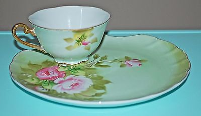 Vintage Lefton Heritage Green Snack Plate and Matching Cup Set Roses