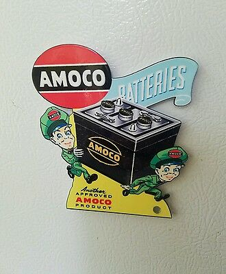 Die Cut Amoco Batteries Magnet Sign Tool Box Gas Oil Car Truck Mobil standard