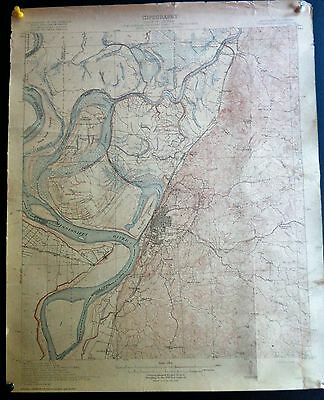 1918 Louisiana & Mississippi Vicksburg Quadrangle Yazoo River DeSoto Island Topo