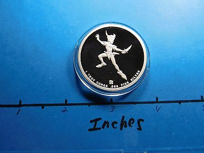 Peter Pan 1988 Disney Around The World Series Rare 999 Silver Coin #2