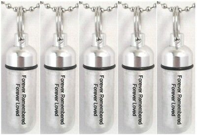 "ENGRAVED Set of 5 Brushed Silver""Forever Remembered Forever Loved"" CREMATION URN"