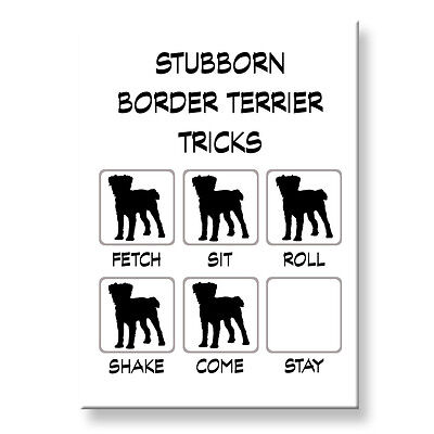 BORDER TERRIER Stubborn Tricks FRIDGE MAGNET Steel Case Funny