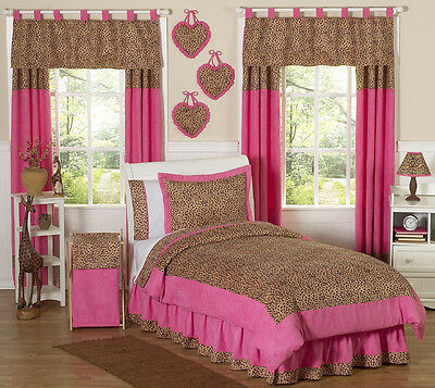 Jojo Pink and Brown Cheetah Print Kid Teen Full Queen Sized Bedding Set for Girl