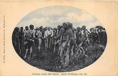 CHOTAW INDIAN BALL GAME SOUTH McALESTER INDIAN TERR. OKLAHOMA POSTCARD (c. 1905)