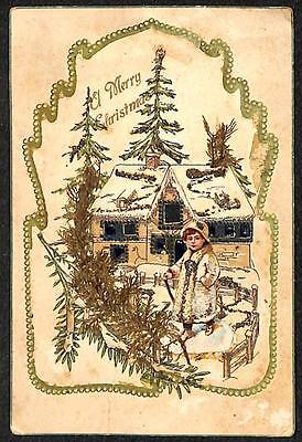 CHRISTMAS HOLIDAY CHILD ADD-ON & CUT-OUT NOVELTY EMBOSSED POSTCARD (c. 1907)
