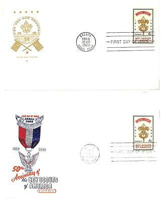Canal Zone Boy Scouts Scott #151 Stamp On Two Fdc First Day Covers 1960
