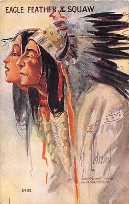 EAGLE FEATHER & SQUAW INDIAN ARTIST SIGNED EMBOSSED POSTCARD (c. 1909)