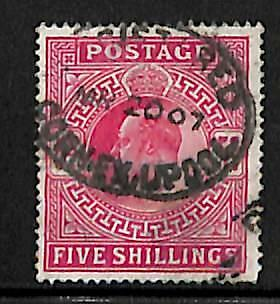 Great Britain Scott #140 Five Shillings Used Stamp Registered Cancel 1907