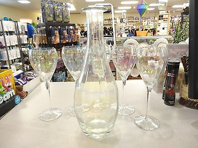 Toscany Hand Blown in Romania Rainbow Decanter with TAG AND  5 Wine Glasses