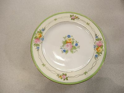 4 MEITO Japan FOUR PORCELAIN LUNCHEON SALAD PLATES Hand Painted  ROSES Vintage