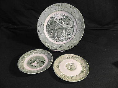 "Vintage""The Old Curiosity Shop"" 12-pcs Green Transfer 1950's Royal China Great!"