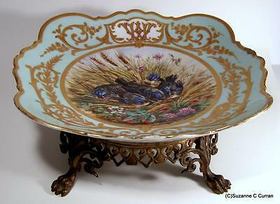 Antique Ormalu Bronze Paris Porcelain Tazza Centerpiece Bowl HP Birds Signed