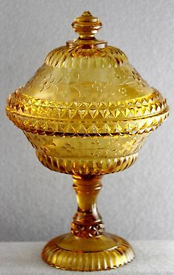 """Estate- Vintage Pressed Glass 9 1/2"""" Covered Compote In Amber Wildflower Pattern"""