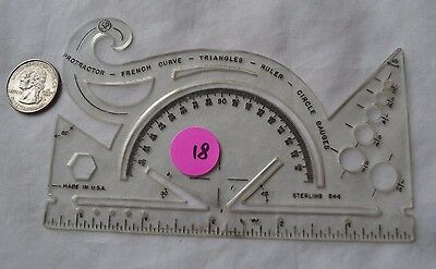 RARE! VINTAGE! Sterling 544 Protractor and Drawing Instrument (18, L1, T2)