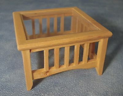 """DOLLS HOUSE 1/12th MODERN PINE COFFEE TABLE WITH """"GLASS"""" TOP"""
