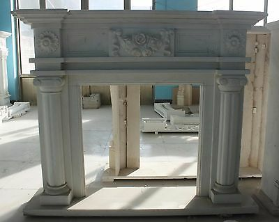 Hand carved Marble French fireplace Mantel, White marble with Rosettes