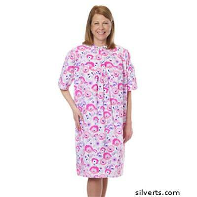 Silverts Womens Pretty Cotton Open Back Patient Night Gown, Silver Flower Small