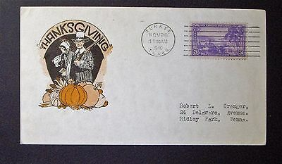 """Thanksgiving Cover 1940 Post Marked From """"turkey Texas""""  See Pics"""