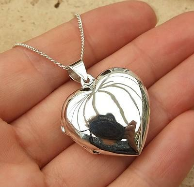 925 Sterling Silver Large Heart Photo Locket Pendant Necklace