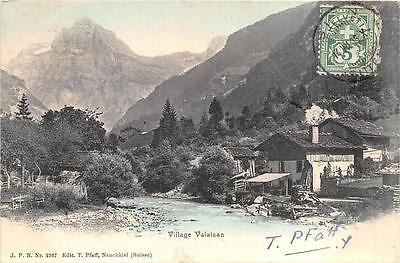 Valaisan Village Switzerland Stamp Postcard 1905