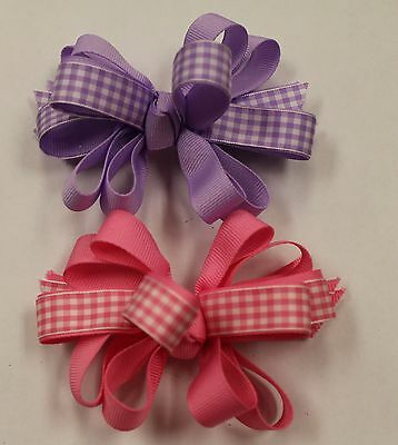 NEW Hair Clip Barette Gingham Knotted Bow IN PINK