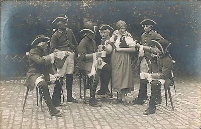 RPPC~Real Photo Postcard~Germany~Woman Pouring Beer For Men In Tricorner Hats