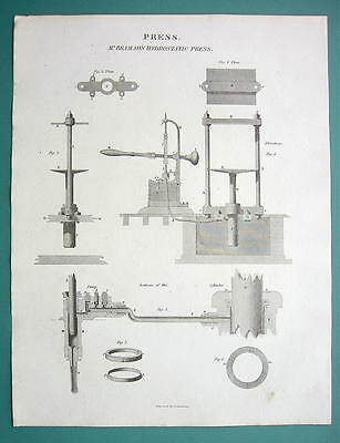 HYDROSTATIC Press by Bramah 6000 lbs Pressure - 1820 Engraving Print by A. Rees