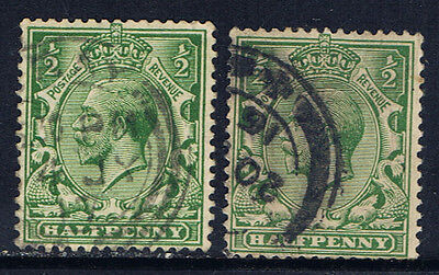 Great Britain #159(1) 1912-13 1/2 pence green George V 2 Used CV$2.20