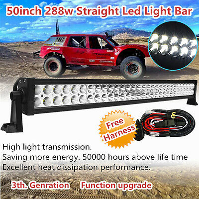 50 inch 288w LED Work Light Bar Combo Offroad Driving ATV SUV Fog DRL Jeep 52/54