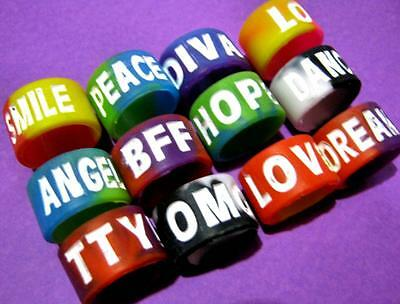 Bulk Lot x 5 Mixed Tie-Dye Silicone Inspiration 16mm Wide Finger Ring Bands