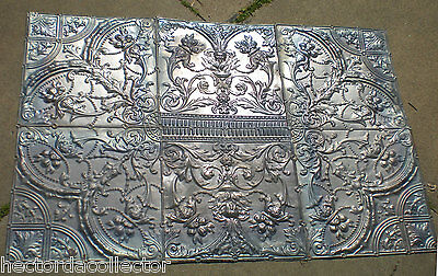 RARE 4'x 6' Antique Ceiling Tin Tile Medallion Torches Flower Gothic Face Chic